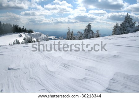 Winter landscape with in Hasmas mountains - Romania - stock photo