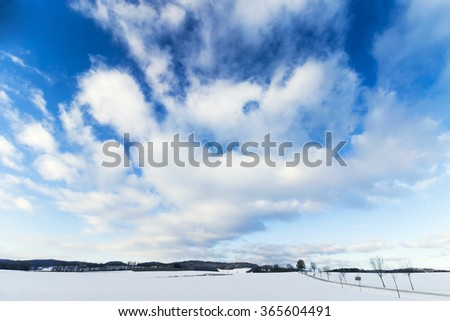 Winter Landscape with Large Blue Dramatic Sky - stock photo