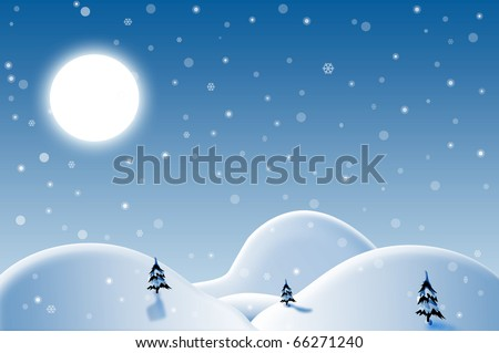 Winter Landscape with moon and trees