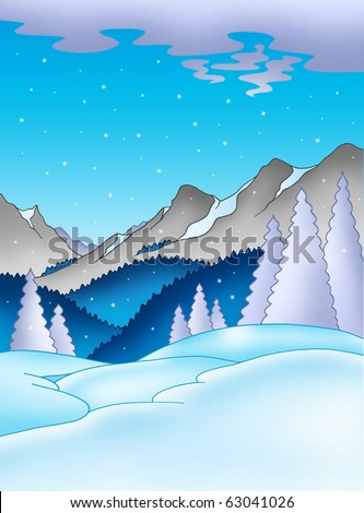 Winter landscape with mountains - color illustration.