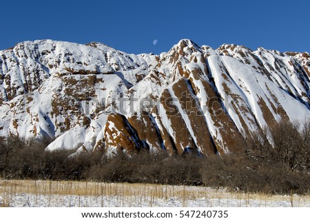 Winter landscape with red rock formations at Roxborough State Park in suburban Denver, Colorado -