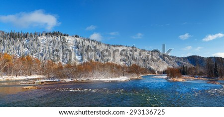 winter landscape with river - stock photo