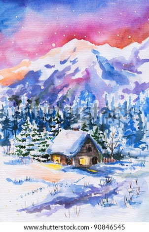 Winter landscape with small house and mountains in background watercolor painted. - stock photo