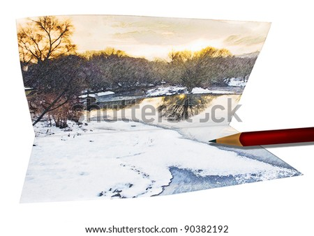 Winter landscape with snow and ice sketch folded on Card with drawing pencil. Great Christmas and New Year idea.