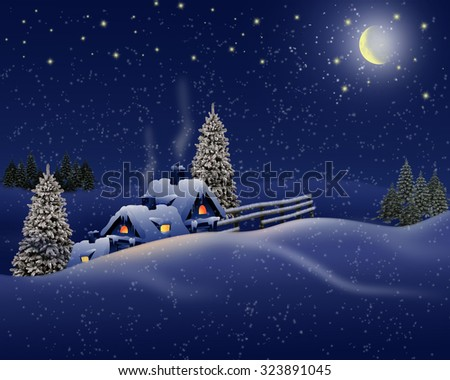 Winter landscape with snow house and light moon . - stock photo
