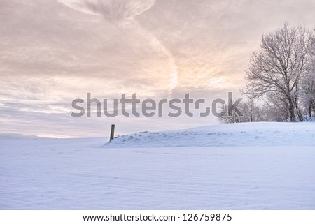 Winter landscape with snow in early sunset - stock photo