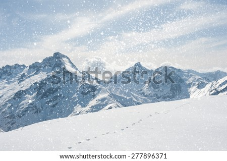 Winter landscape with snowflakes. Winter Scenic in the French Alps, Les 2 Alpes - stock photo