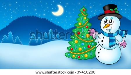 Winter landscape with snowman and tree - color illustration.