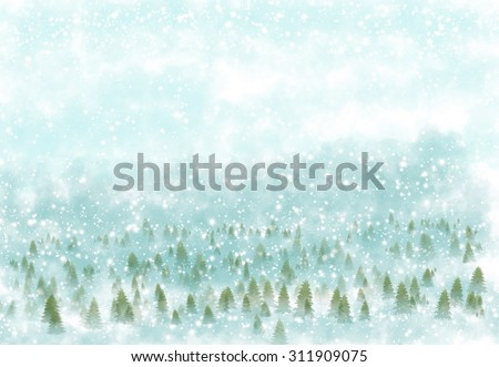 Winter landscape with snowy background - stock photo