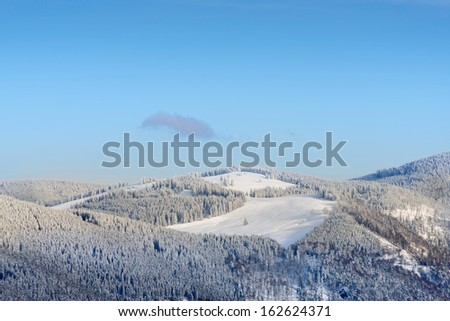 Winter Landscape With Snowy Mountains On Feldberg In The Black-Forest