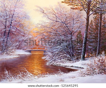 Winter landscape with the bridge.Original  oil painting.