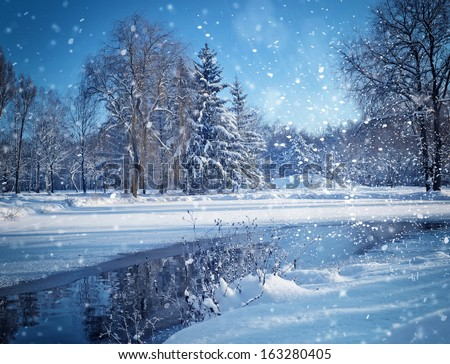 Winter landscape with the river in frosty day - stock photo