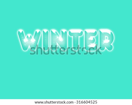 winter lettering in ice letters with snow on top and a blue background with snowfall  - stock photo