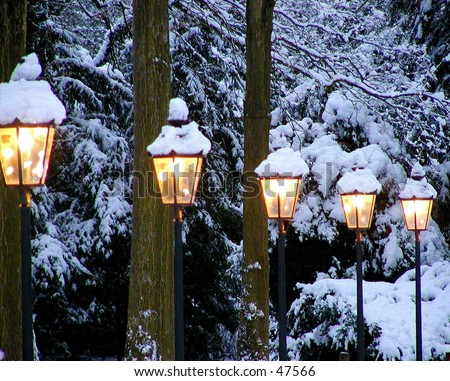 winter lights in a park in germany - stock photo