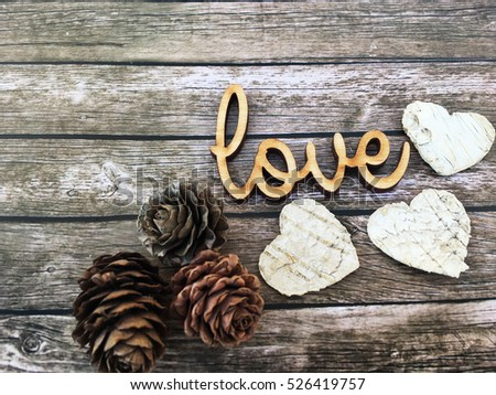 Winter Love Wooden Word Letters On Rustic Background And