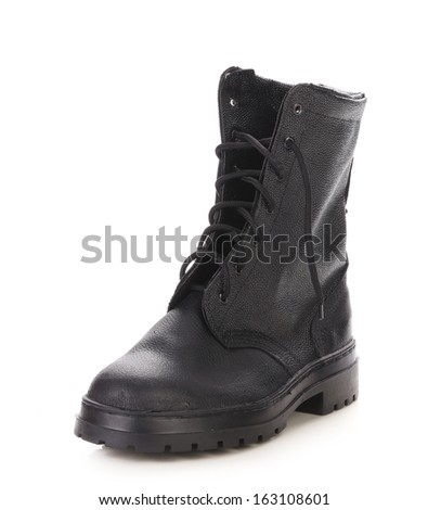 Winter man's boot. Isolated on a white background.