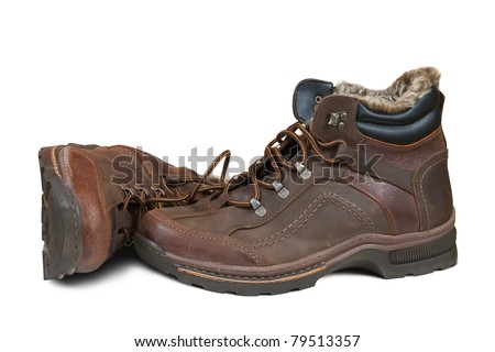 Winter men boots. Isolated on  white background