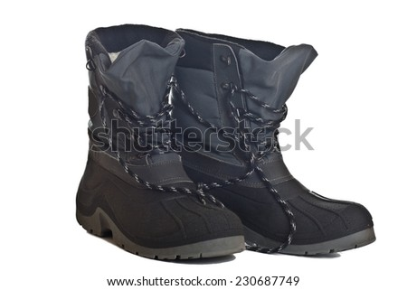 Winter Men's waterproof boots isolated on white background - stock photo