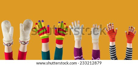 winter mittens and gloves  - stock photo