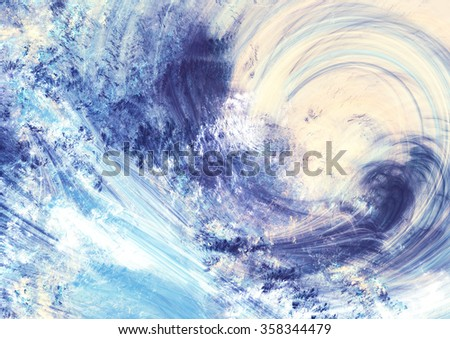 Winter morning. Artistic splashes of bright paints. Abstract blue color background with lighting effect. Modern bright painting texture for creative graphic design. Shiny pattern. Fractal artwork - stock photo