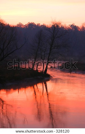 Winter Morning by a Stream - stock photo
