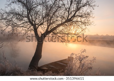 Winter morning by the pond - stock photo