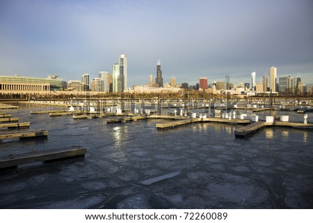 Winter morning in Chicago, Illinois - stock photo