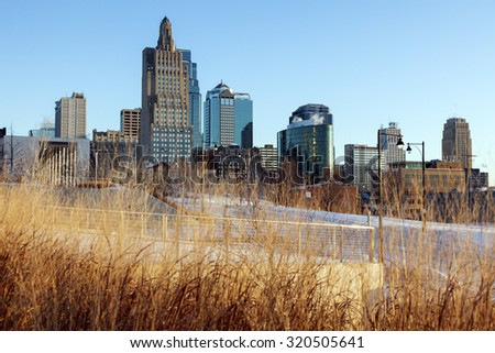 Winter morning in Kansas City, Missouri, USA. - stock photo