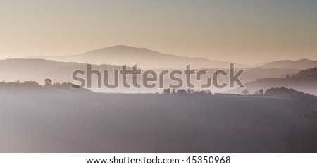 Winter morning mountain landscape - stock photo