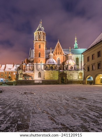 Winter morning view of the cathedral of St Stanislaw and St Vaclav on the Wawel Hill, Krakow, Poland. - stock photo