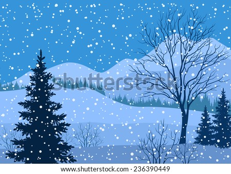 Winter mountain Christmas landscape with fir trees silhouette and snowflakes. - stock photo