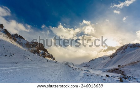 winter mountain landscape - stock photo