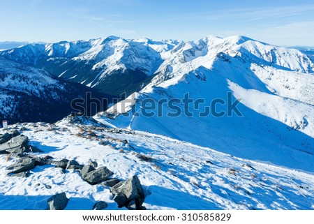 Winter mountain landscape. The Kasprowy Wierch  in the Western Tatras (Poland).