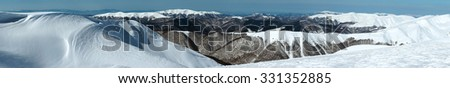 Winter mountain landscape (Ukraine, Carpathian Mt's, Svydovets Range). Seventeen shots stitch image.