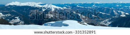 Winter mountain landscape (Ukraine, Carpathian, Svydovets Range). - stock photo