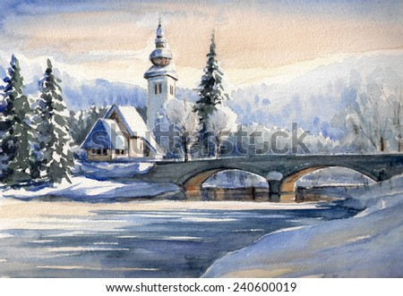 Winter mountain landscape with small church and bridge over river in Bohinj,Slovenia.Picture created with watercolors. - stock photo