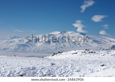 Winter mountain near Mount Ararat, Turkey - stock photo