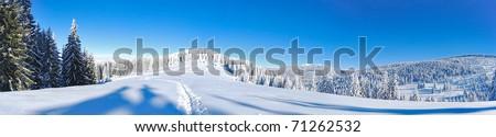 winter mountain panorama - stock photo