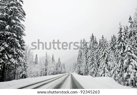 Winter mountain road, Austria, Kirhberg. Tirol - stock photo