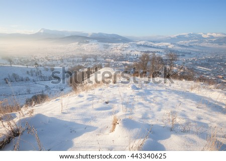 Winter mountain snowy hills - stock photo