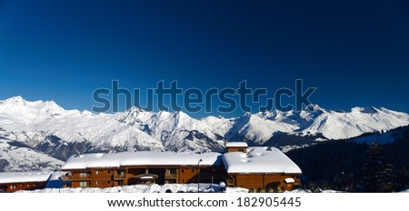 Winter mountains of Les Arc ski resort, France - stock photo