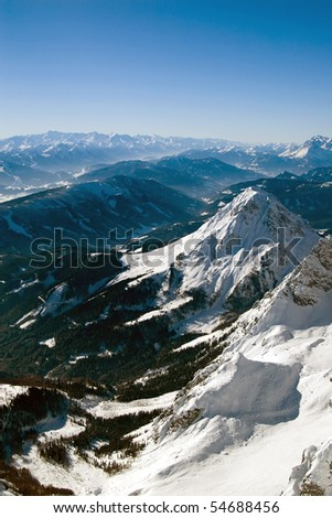 Winter mountains on a bright sunny day - stock photo