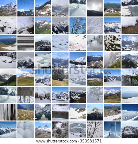 winter mountains, 64 pictures - stock photo