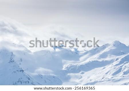 Winter mountains. Ski resort Elbrus. Caucasus, Russian Federation. Beautiful winter landscape. - stock photo