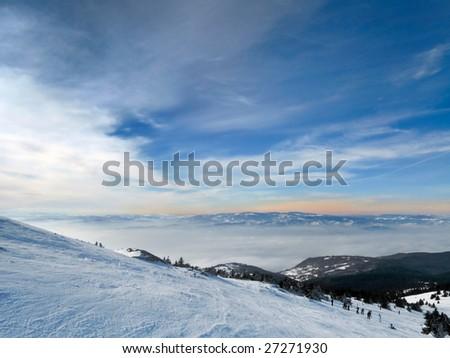 winter mountains under snow - stock photo