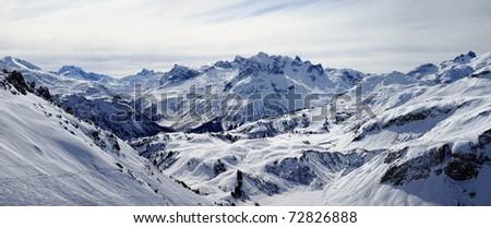 Winter Mountainscape Lech-Z�¼rs in Austria - stock photo