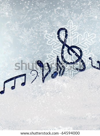 WINTER MUSICAL BACKGROUND - stock photo