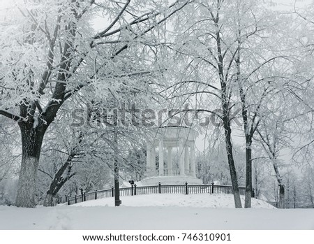 Winter nature, pavilion and snowy trees  in city park