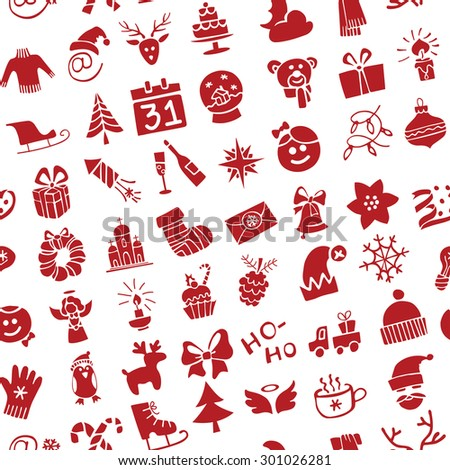 Winter,New year, Christmas Vector icons .Doodles sketch Silhouette set in  seamless pattern for winter holidays .Trendy flat style.For Backdrop,background,fabric,Wallpaper.