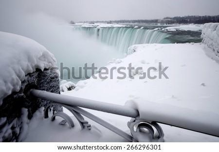 Winter Niagara Falls frozen snow and ice - stock photo